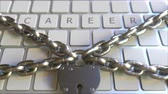 禁止 : CAREER text on the keys of a keyboard with padlock and chains. Restriction related conceptual 3D animation