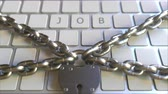 proibir : JOB word on the keyboard with padlock and chains. Conceptual 3D animation Stock Footage