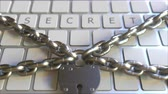proibir : SECRET word on the keyboard with padlock and chains. Conceptual 3D animation Stock Footage