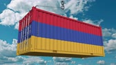 tara : Cargo container with flag of Armenia. Armenian import or export related conceptual 3D animation Stock Footage