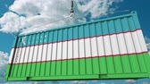 uzbek : Loading container with flag of Uzbekistan. Uzbek import or export related conceptual 3D animation