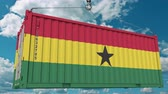tara : Container with flag of Ghana. Ghanaian import or export related conceptual 3D animation