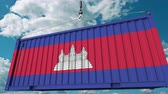 kamboçyalı : Loading container with flag of Cambodia. Cambodian import or export related conceptual 3D animation