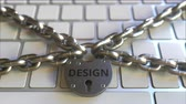 restringido : Padlock with DESIGN text on the computer keyboard. Blocking or restriction related 3D animation