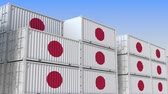 vrac : Container terminal full of containers with flag of Japan. Japanese export or import related loopable 3D animation