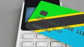 harcamak : Plastic bank card featuring flag of Tanzania and POS payment terminal. Tanzanian banking system or retail related 3D animation