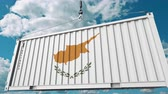 cypriot : Container with flag of Cyprus. Cypriot import or export related conceptual 3D animation Stock Footage