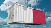maltês : Container with flag of Malta. Maltese import or export related conceptual 3D animation