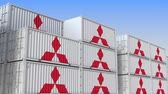 company : Container yard full of containers with logo of Mitsubishi. Shipment, export or import related loopable editorial 3D animation Stock Footage