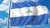 şaft : Waving flag of Nicaragua on sky background. 3D animation