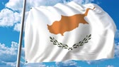 cypriot : National flag of Cyprus on sky background. 3D animation