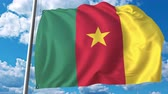 drapeau cameroun : National flag of Cameroon on sky background. 3D animation Vidéos Libres De Droits