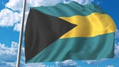 şaft : Flying flag of Bahamas on sky background. 3D animation Stok Video