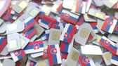 슬로바키아 : Many SIM cards with flag of Slovakia. Slovak mobile telecommunications related 3D animation