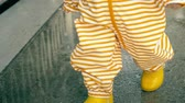 véd : Little baby in orange striped waterproof raincoat and yellow rubber rain boots walks on puddles after rain, close-up