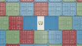 eksport : Cargo container with flag of Guatemala. Guatemalan goods related conceptual 3D animation Wideo