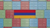 forwarder : Cargo container with flag of Armenia. Armenian goods related conceptual 3D animation Stock Footage