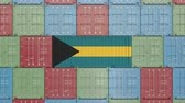 eksport : Container with flag of the Bahamas. Bahamian goods related conceptual 3D animation