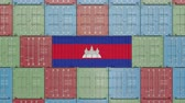 eksport : Container with flag of Cambodia. Cambodian goods related conceptual 3D animation