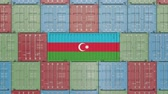 eksport : Container with flag of Azerbaijan. Azerbaijani goods related conceptual 3D animation
