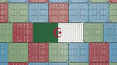 entrega : Container with flag of Algeria. Algerian goods related conceptual 3D animation