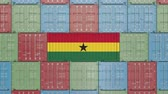 eksport : Container with flag of Ghana. Ghanaian goods related conceptual 3D animation