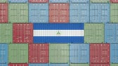 eksport : Container with flag of Nicaragua. Nicaraguan goods related conceptual 3D animation