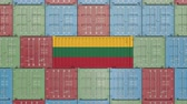 eksport : Container with flag of Lithuania. Lithuanian goods related conceptual 3D animation