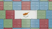 cypriot : Container with flag of Cyprus. Cypriot goods related conceptual 3D animation
