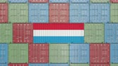 eksport : Container with flag of Luxembourg. Luxembourgian goods related conceptual 3D animation