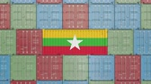 eksport : Cargo container with flag of Myanmar. Myanma goods related conceptual 3D animation Wideo