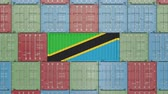 eksport : Container with flag of Tanzania. Tanzanian goods related conceptual 3D animation