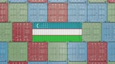 eksport : Container with flag of Uzbekistan. Uzbek goods related conceptual 3D animation Wideo