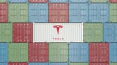 eksport : Container with Tesla corporate logo. Editorial 3D animation