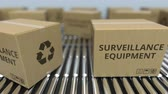 roller conveyor : Cartons with surveillance equipment on roller conveyors. Loopable 3D animation