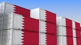 eksport : Container terminal full of containers with flag of Bahrain. Bahraini export or import related loopable 3D animation