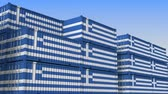 eksport : Container terminal full of containers with flag of Greece. Greek export or import related loopable 3D animation