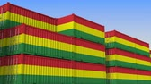 ithalat : Container terminal full of containers with flag of Bolivia. Bolivian export or import related loopable 3D animation
