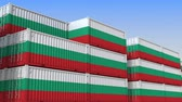 eksport : Container terminal full of containers with flag of Bulgaria. Bulgarian export or import related loopable 3D animation
