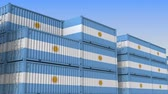 hurtownia : Container terminal full of containers with flag of Argentina. Argentinean export or import related loopable 3D animation