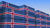 eksport : Container terminal full of containers with flag of Iceland. Icelandic export or import related loopable 3D animation Wideo