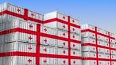 eksport : Container yard full of containers with flag of Georgia. Georgian export or import related loopable 3D animation