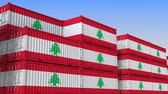 eksport : Container terminal full of containers with flag of Lebanon. Lebanese export or import related loopable 3D animation