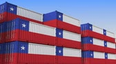 eksport : Container terminal full of containers with flag of Chile. Chilean export or import related loopable 3D animation