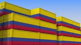 eksport : Container terminal full of containers with flag of Colombia. Colombian export or import related loopable 3D animation Wideo