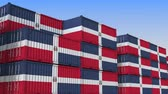 hurtownia : Container terminal full of containers with flag of the Dominican Republic. Export or import related loopable 3D animation Wideo