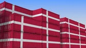 eksport : Container yard full of containers with flag of Denmark. Danish export or import related loopable 3D animation
