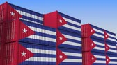 eksport : Container terminal full of containers with flag of Cuba. Cuban export or import related loopable 3D animation