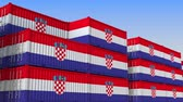 eksport : Container yard full of containers with flag of Croatia. Croatian export or import related loopable 3D animation