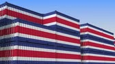 eksport : Container terminal full of containers with flag of Costa Rica. Export or import related loopable 3D animation Wideo